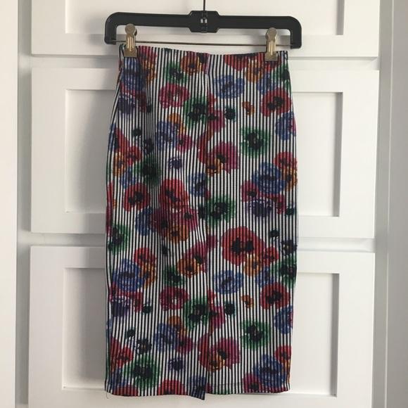 Zara Dresses & Skirts - Zara Trafaluc Floral Striped Printed Pencil Skirt